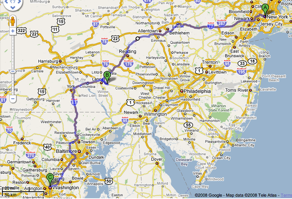 Doing it right: Avoiding I-95 between NYC and DC: the ...